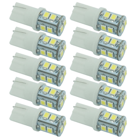 CQD-Light 10pcs 12V 3528 10 SMD T10 W5W 501 LED Car Auto Sidelight Bulb White Parking License Plate Light