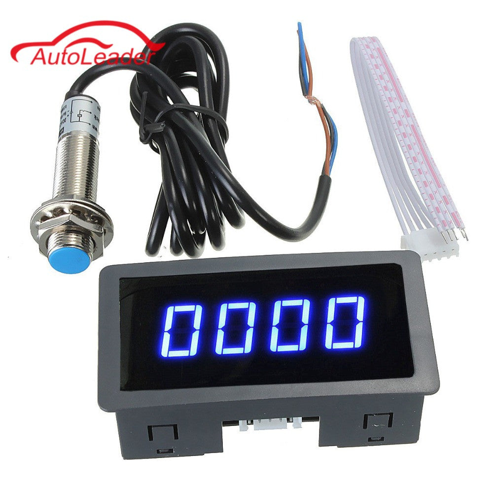 2017 Brand New 4 Digital LED Blue Tachometer RPM Speed Meter+Hall