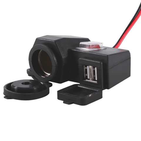 Waterproof Motorcycle Scooter 12V GPS Cigarette Lighter Dual USB Power Socket Charger