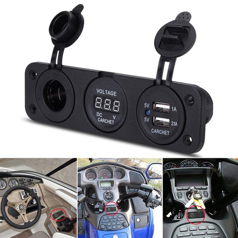 Car Charger Motorcycle Plug Dual USB Adaptor+12V/24V Cigarette Lighter Socket Blue LED + Digital Voltmeter Mobile Phone