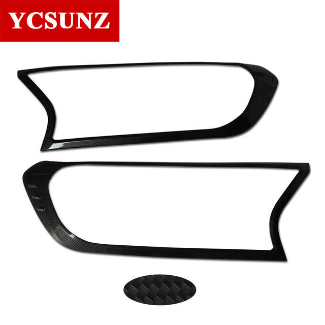 2016-2017 For Ford Ranger ABS Black Headlight Covers Surrounds Trim