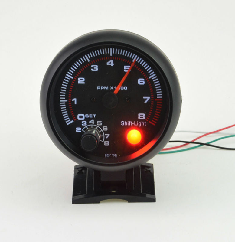 3.75inch (95.25mm) Black shell white light LED Tachometer gauge 0-8000