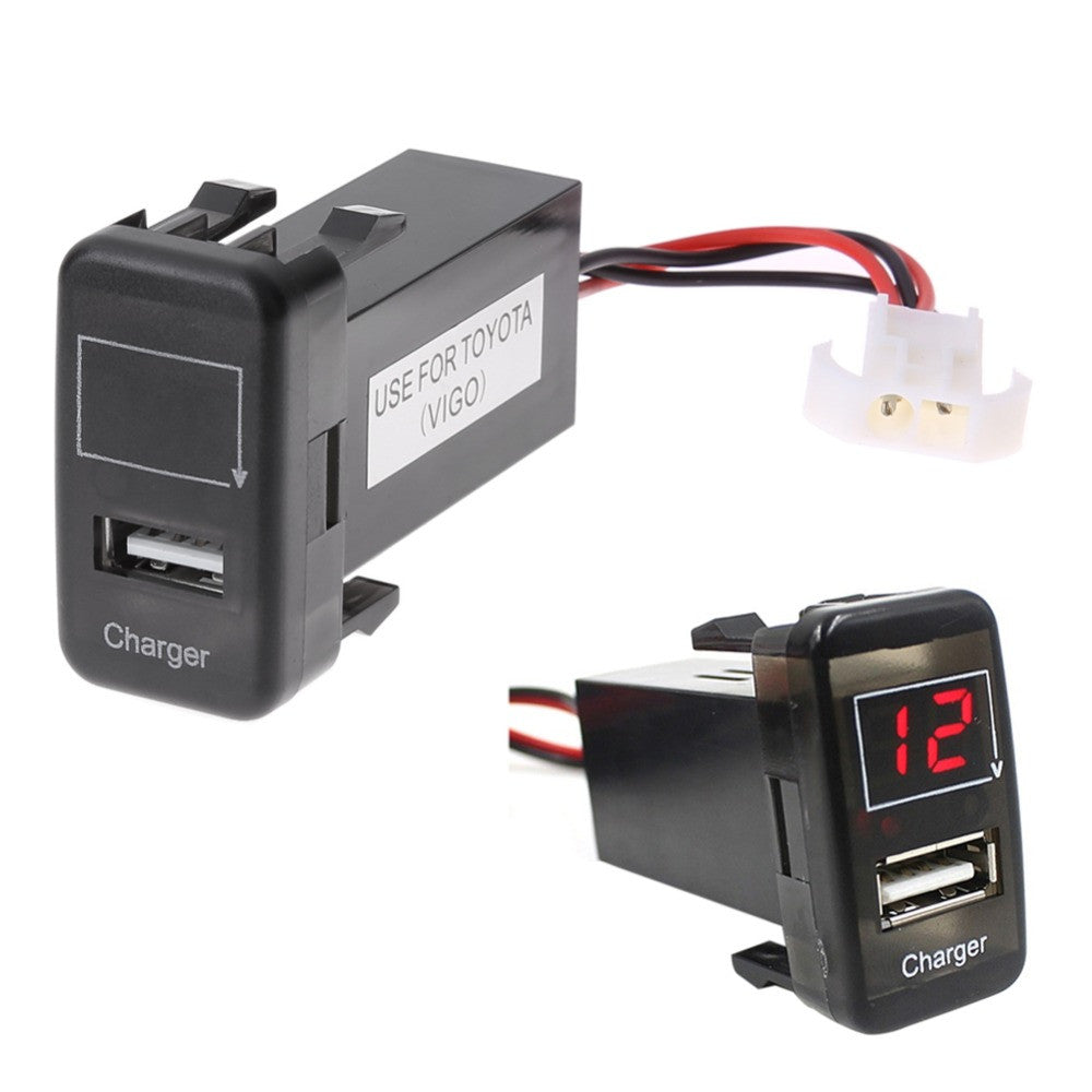 2 in 1 Car 5V 2.1A USB Port With Dashboard Voltmeter Phone Charger For