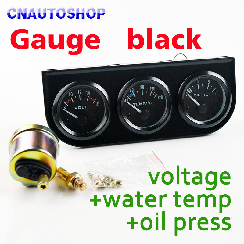 "2"" 52mm 3-In-1 Kit Car Guage (Voltage + Water Temperature + Oil Press)"