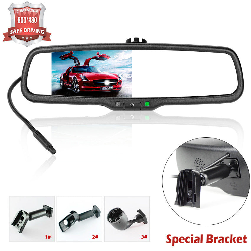 4.3 Inch HD 800*480 Car Rearview Mirror Monitor 2CH Video Input For