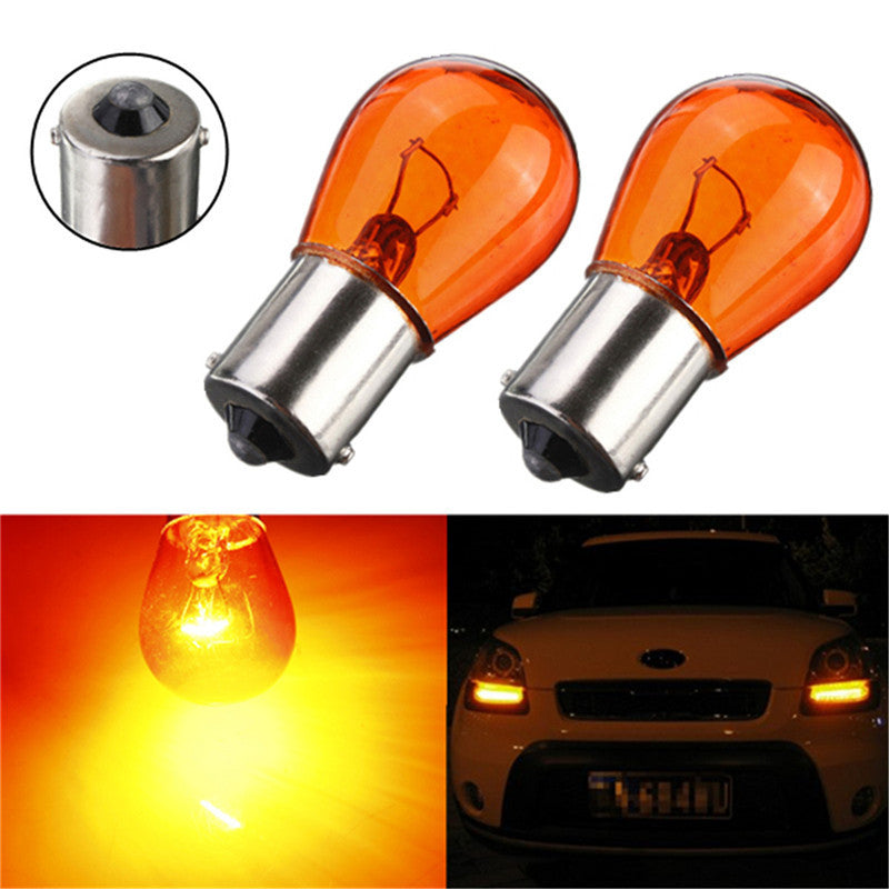 2pcs PY21W 1156 BA15S 581 Amber Color Glass Car Auto Stop Light Car