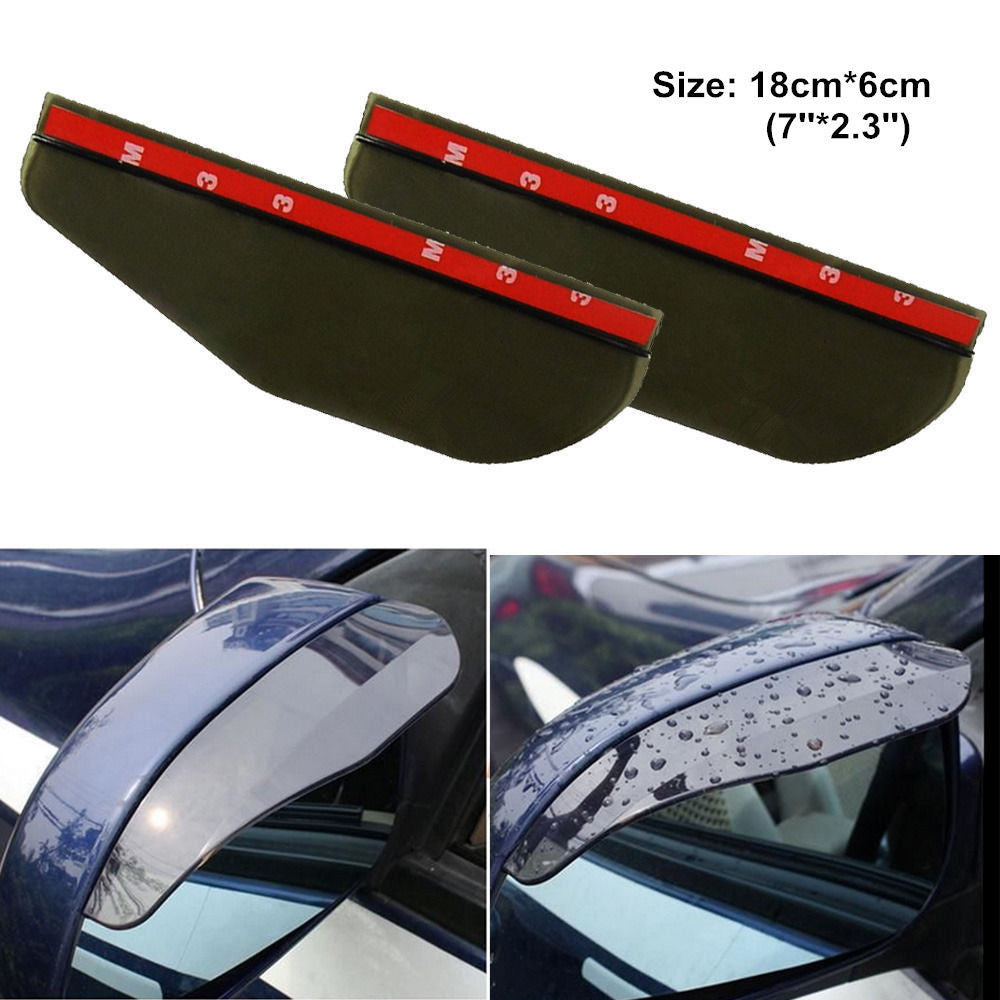 2 Pcs Black Universal Car Flexible Plastic Rear Mirror Rain Board
