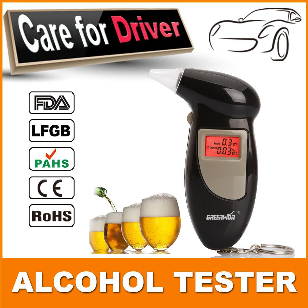 2pcs/lot 2016 Keychain Alcohol Tester Breathalyzer Alcohol Detector