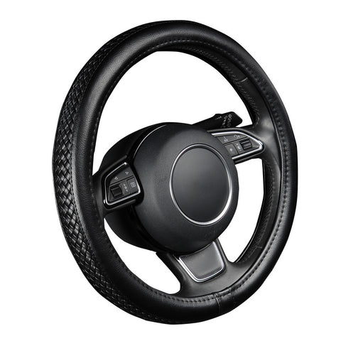 "PU Leather Steering Wheel Cover Black Lychee Pattern with Anti-slip Braiding Style M Size fits 38cm/15"" Diameter"
