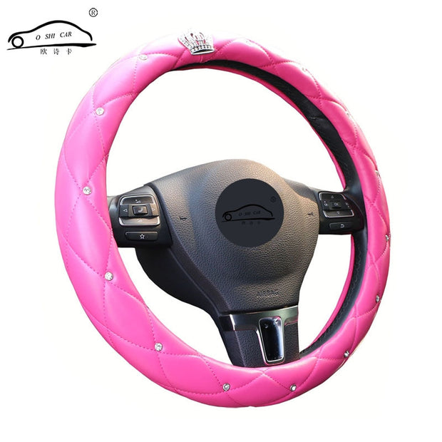 Upscale Crystal Crown Coverd Women car steering- wheel braid Luxurious