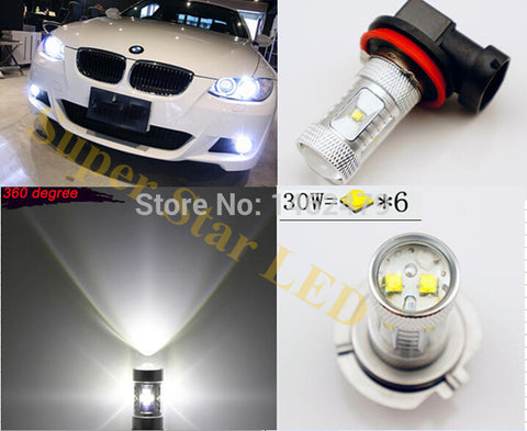 H8 H11 6000K  No Error LED Fog Light DRL Bulb For BMW 3/5-Series 328i 335i E39 525 530 535 540 E46 E60 E61 E92 E93 F10 X3 F25