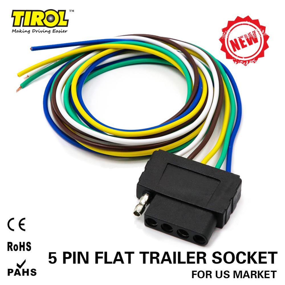 Tirol 5 Way Flat Trailer Wire Harness Extension Connector Socket Wiring