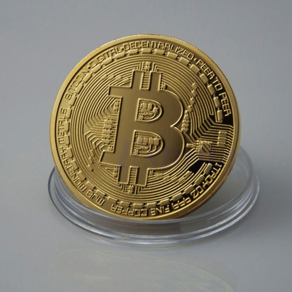 1pc 38mm Collection Coin Bitcoin Gold - Bronze - or Silver plated metal Physical Bitcoin  Gift (NOT A REAL BITCOIN)  Clear case not included