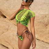 Bengal Striped Bikini w/Tied Front Cover-up