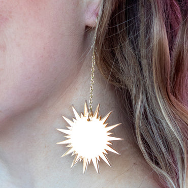 Dangling Mirrored Gold Starburst Earrings