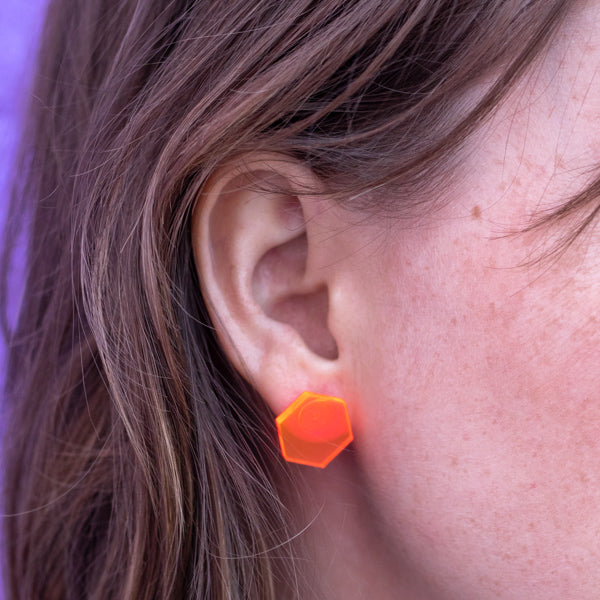 Neon Pink Hexagon Stud Earrings