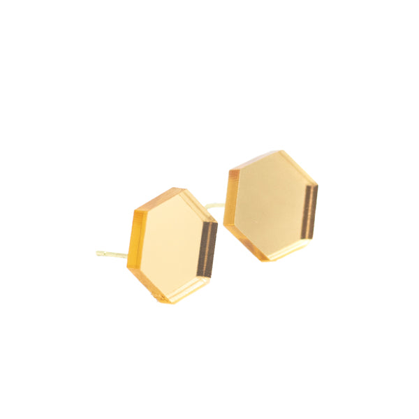 Mirrored Gold Hexagon Stud Earrings