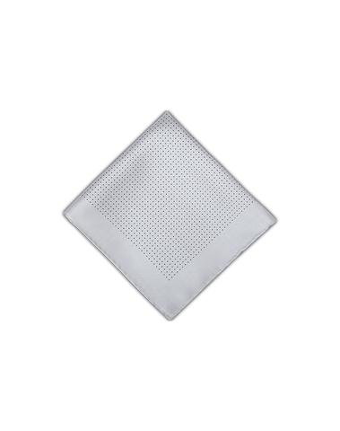 Men's Pocket Squares in White with Black Dots