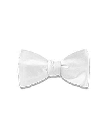 Men's Dress Bow Tie in White Solid Satin