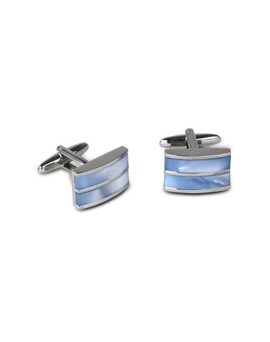 Men's Dress Shirt Cufflinks in Blue Mother Of Pearl