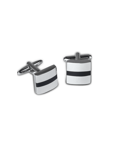 Men's Dress Shirt Cufflinks in Rectangular Stripe