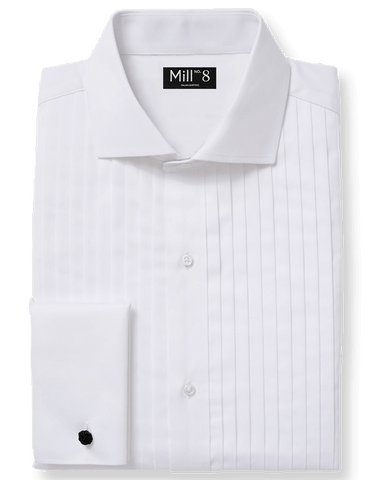 The Black tie Dress Shirt in White Pleated