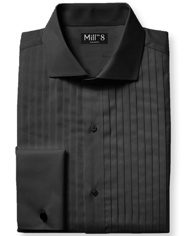 The Black tie Dress Shirt in Black Pleated