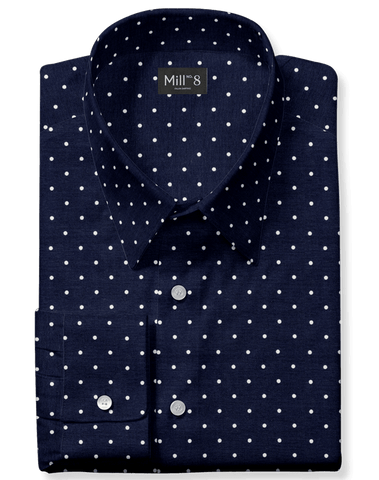 The Hyde Park Dress Shirt in Navy Denali Dot