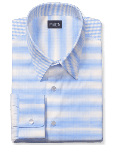 The Roosevelt Dress Shirt in Blue Graph Check