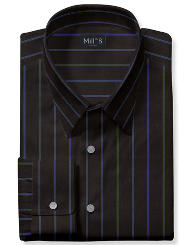 The Roosevelt Dress Shirt in Blue Wide Stripe