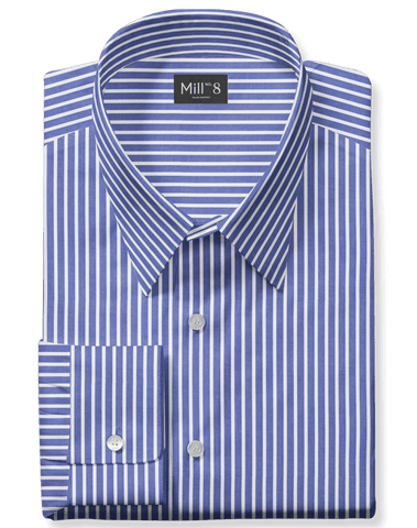 The Roosevelt Dress Shirt in Broad Blue Stripe