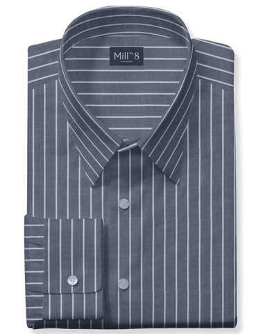The Roosevelt Dress Shirt in French Grey Wide Stripe