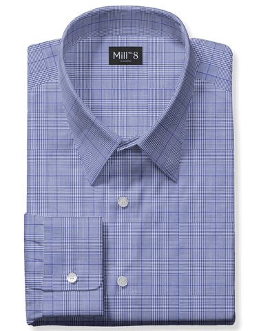 The Roosevelt Dress Shirt in Light Blue Glenplaid