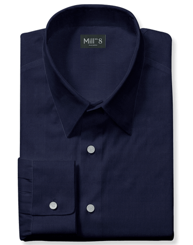 The Roosevelt Dress Shirt in Navy Herringbone
