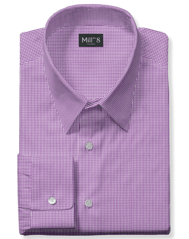The Roosevelt Dress Shirt in Purple Micro Check