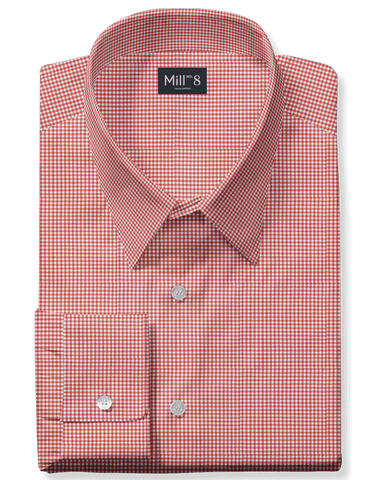 The Roosevelt Dress Shirt in Red Micro Check