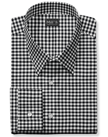 The Wabash Dress Shirt in Black Gingham