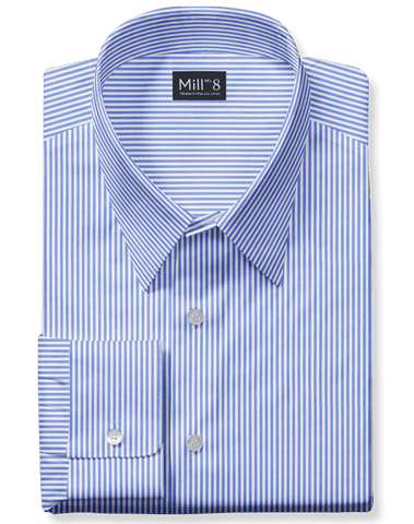 The Wabash Dress Shirt in Blue Harvard Stripe