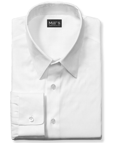 Dress Shirt in White Herringbone