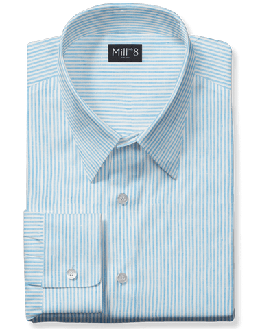 Linen Dress Shirt in Sky Blue Stripe