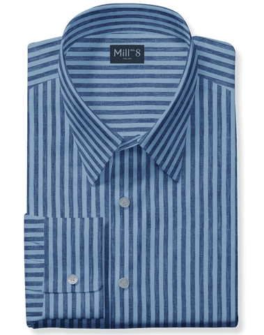 Linen Dress Shirt in Blue Bengal Stripe