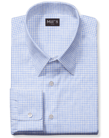 Linen Dress Shirt in Blue Gingham