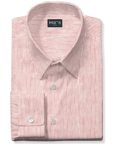 Linen Dress Shirt in Red Stripe