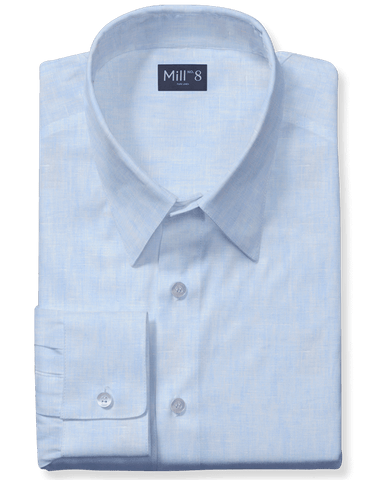 Linen Dress Shirt in Sky Blue Chambray