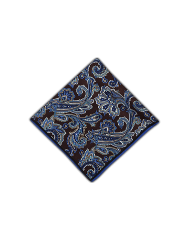 Men's Pocket Squares in Blue Brown Florals-Folded