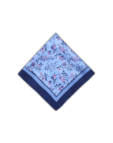 Men's Pocket Squares in Blue Florals-Folded