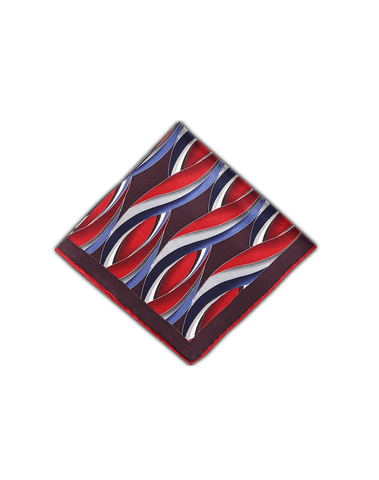 Men's Pocket Squares in Red and Blue Ocean Waves-Folded