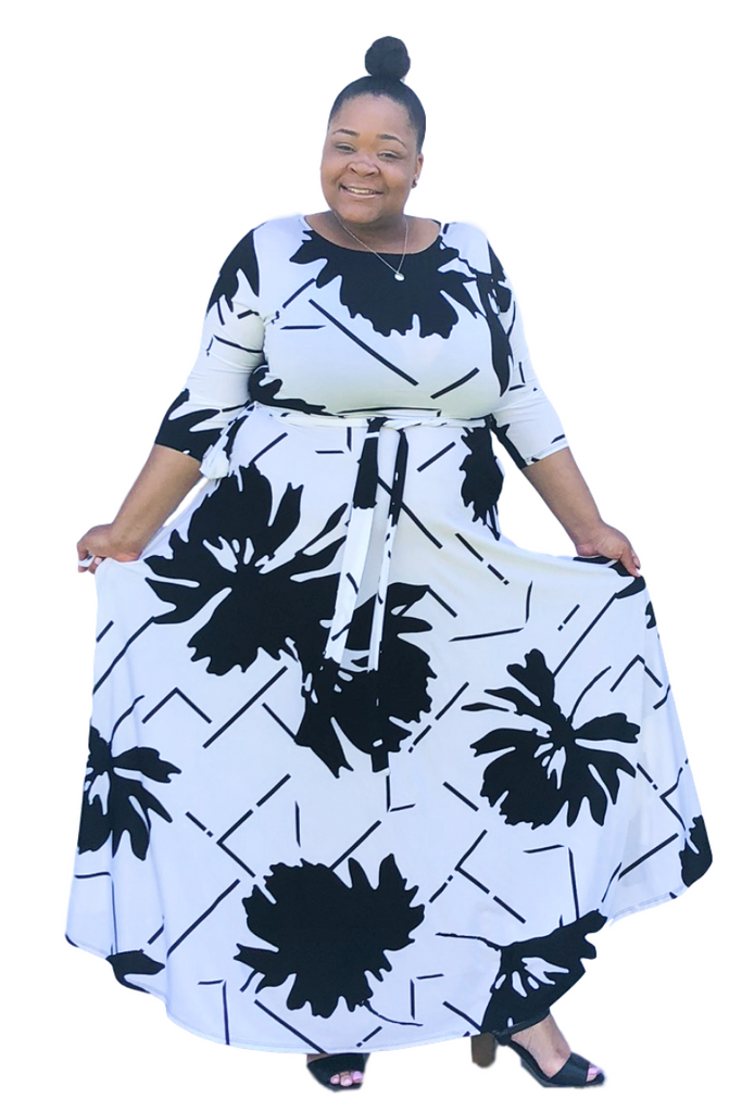 911724760d Plus Size Black and White Maxi Dress with Sleeves for Easter or Spring and  Summer