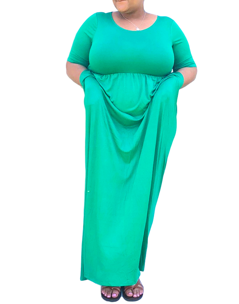 1d93c50541 Plus Size Kelly Green T-Shirt Maxi Dress with Pockets and Sleeves from Online  Plus