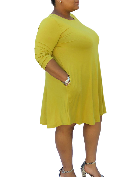 466f29de27 Plus Size A-Line Swing T-Shirt Dress with 3 4 Sleeves and Pockets (Multiple  Colors)